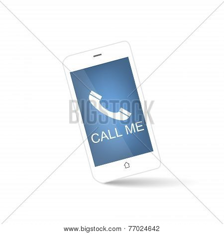 White smart phone with call me symbol