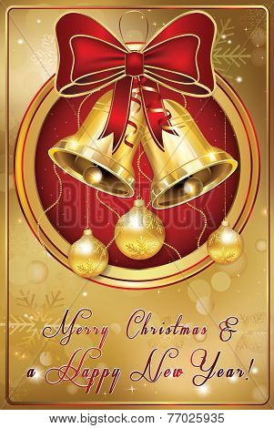Golden red Christmas greeting-card