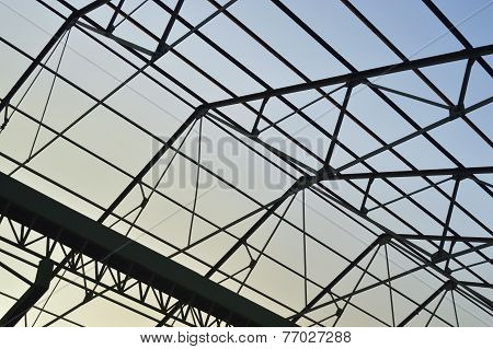 Steel Frame Of The Factory Roof