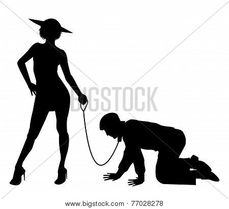 woman holding man on a leash