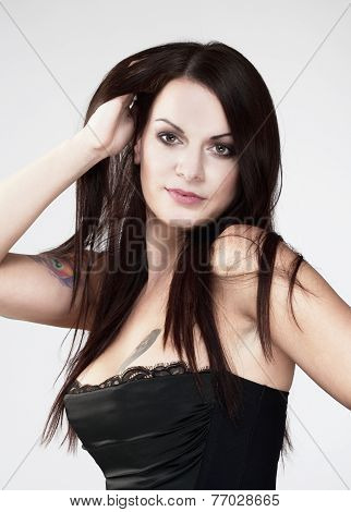 Young Beautiful Woman With Brown Hair
