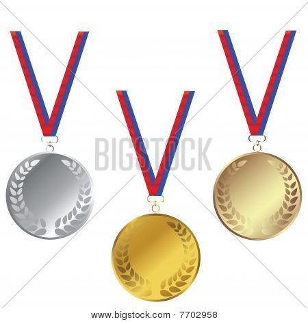 Medals Set Isoled Over White Background