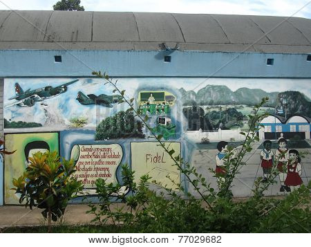 Propaganda Murales In A Cuban School.