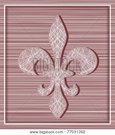 Fleur De Lis On Stripey Background With Minimalistic Frame
