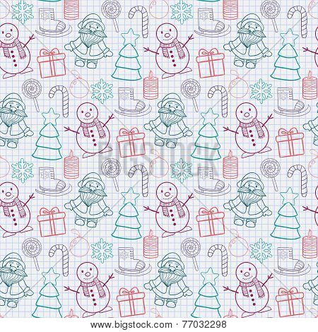 Vector seamless   Happy New Year and Merry Christmas pattern