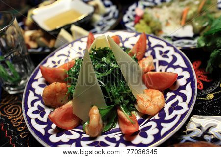 Salad Arugula With Prawns