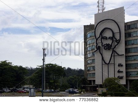 Face of Fidel Castro in Plaza Revolution