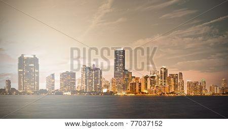 Downtown Miami Florida sunset skyline