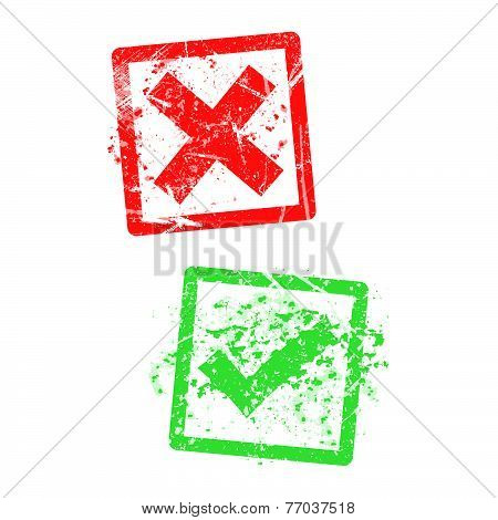 Red X And Green Check Mark, Grungy Rubber Stamp