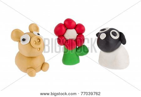 Sheep And Pig Made Of Plasticine