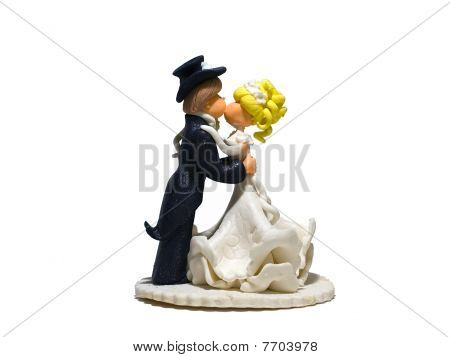 Wedding cake dolls on a white background