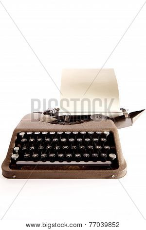Typewriter Letter And Bow Ribbon Cover Is Open