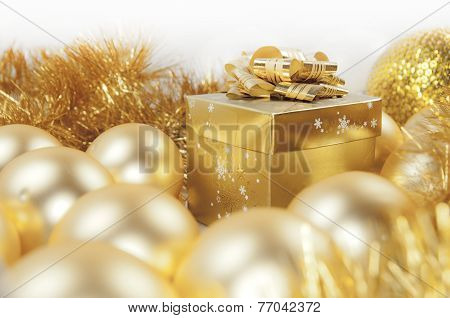 Golden Christmas Gift Box, Baubles And Ornaments