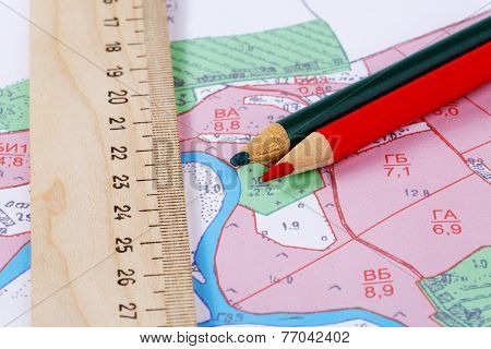 Topographic Map  Ruler And Pencils Close Up