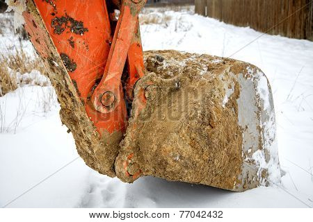 Dredge Ladle Close Up In The Winter