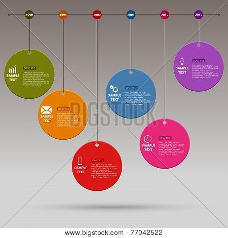 Time Line Info Graphic Colored Round Design Template