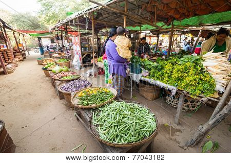 People Shopping At Asian Market. Bagan, Myanmar