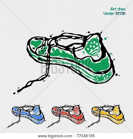 Symbol Of Sports Shoes. Logo For Running. Sneakers Are Presented In Four Colors Green, Blue, Red