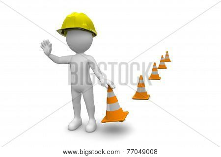 Man With Construction Cones