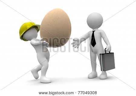 Worker Giving Egg To Manager