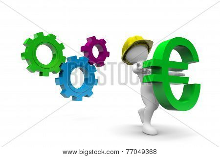 Worker Holding Euro Symbol
