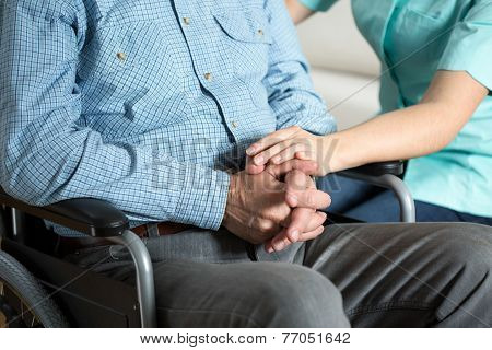 Nurse Touching Hand Her Patient