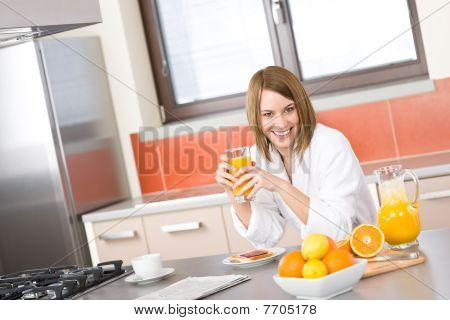 Breakfast - Smiling Woman With Fresh Orange Juice