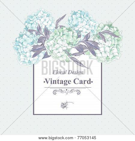 Gentle Blue Vintage Floral Greeting Card