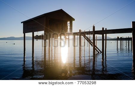 Elevated Pier Walkway To Boathouse Lake Tahoe City Sunrise