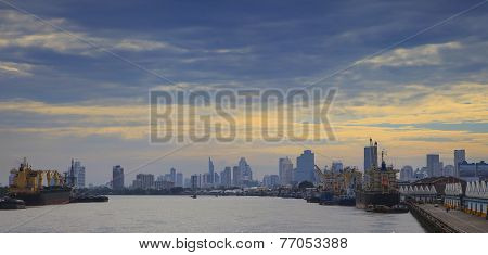 Scene Important Naval Shipping Transportation In Heart Of Bangkok Use As Freight And Port Logistic B