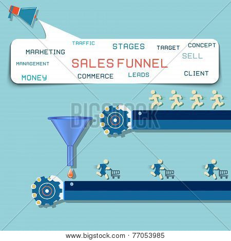 Sales funnel flat illustration, vector graphics.