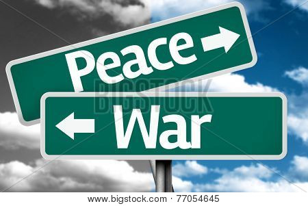 Peace x War creative sign with clouds as the background