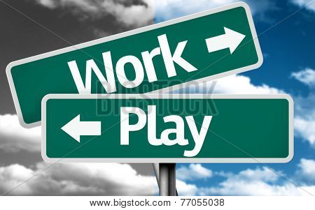 Work x Play creative sign with clouds as the background