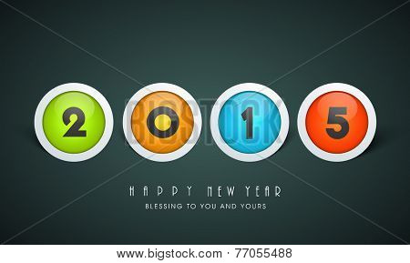Colorful shiny icons with text 2015 on dark grey background for Happy New Year celebration.