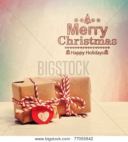 Merry Christmas Text With Cute Little Gift Boxes