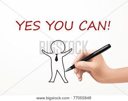 Yes You Can Words Written By Human Hand