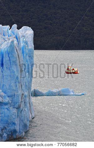 Excursion on the tourist boat.  Colossal Perito Moreno glacier in Lake Argentino. Los Glaciares National Park in Argentina