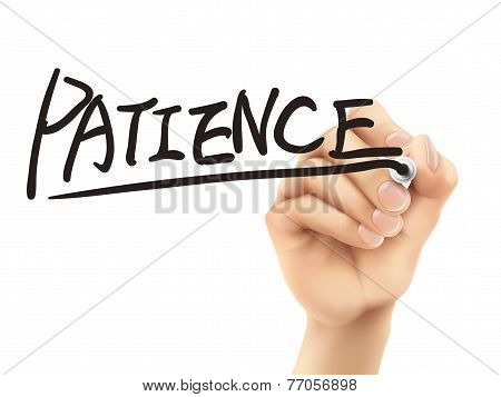 Patience Word Written By Hand