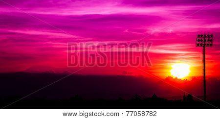 Silhouette Sport Stadium Sunset
