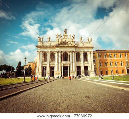 San Giovanni al Laterano Basilica front fachade at Rome Italy