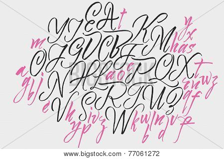 Alphabet letters: uppercase, lowercase. Elegant writing. Vector alphabet. Hand drawn letters.