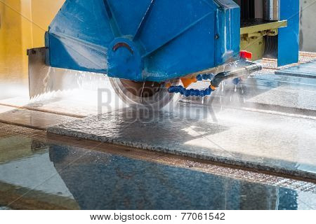 Cutting Granite Closeup