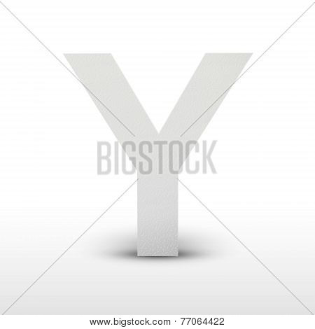 White Letter Y Isolated On White