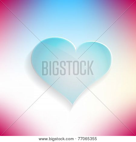 Red heart glassy beautiful icon. Love concept. Vector illustration