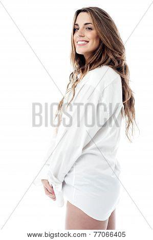 Sensual Woman In Man Shirt