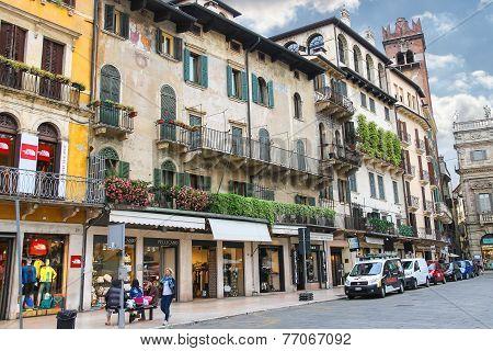 People On The Square Piazza Delle Erbe . Verona, Italy