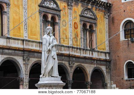Monument Of Dante Alighieri On The Piazza Della Signoria In Verona, Italy