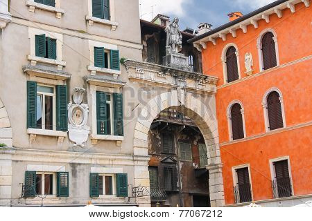 The Bas-reliefs And Statues On Buildings In Piazza Della Signoria In Verona, Italy