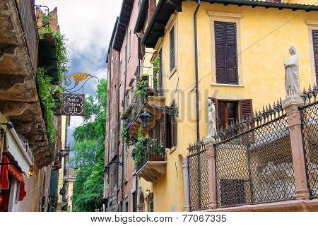 Houses On The Street Via Arche Scaligere In Verona, Italy