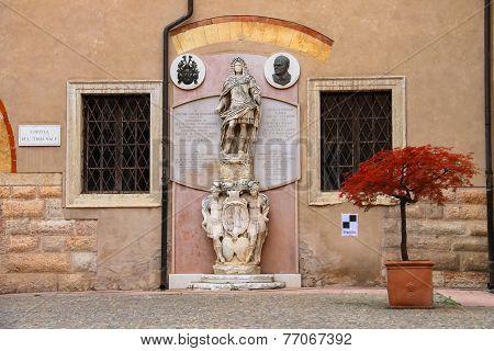 Statue In The Courtyard Of The Palazzo Del Capitano, Piazza Dante, Verona, Italy